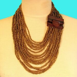 """24"""" Gold Color Multi Strand Wood Buckle Waterfall Handmade Seed Bead Necklace"""