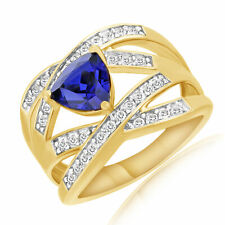 Sapphire Cross Band Engagement Ring 18K Yellow Gold Over Sterling Silver