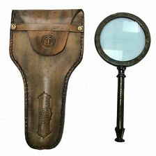 Antique Leather Case Henry Hughes London 1941 Handheld Brass Magnifying Glass
