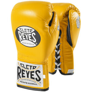 Cleto Reyes Safetec Professional Boxing Fight Gloves - 10 oz - Yellow