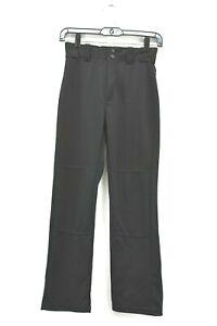 Rawlings Youth Boys Large Belted Stretch Waist Baseball Pants Black Pro-Dri