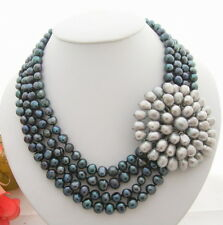 """18"""" 4Strds Black Pearl Gray Pearl  Flower Necklace"""