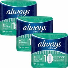 Always Ultra Normal Sanitary Towels Pads With Wings Size 1 Absorbent, Pack of 42