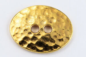 19mm Bright Gold TierraCast Distressed Oval Button (20 Pcs) #CK640