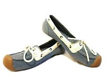 Women's Keen Blue / White Denim Canvas Leather Catalina Flats Shoes Size 7