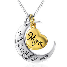 "925 Sterling Silver MOM -I Love You to the Moon And Back Gold Heart 18"" Necklace"