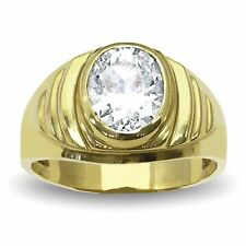 Men's Oval Simulated Diamond Ring In 14K Solid Yellow Gold Brand New