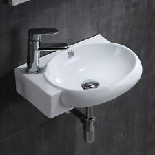 Round Washing Basin Sink Small Bathroom Compact Cloakroom Corner Wall Mounted