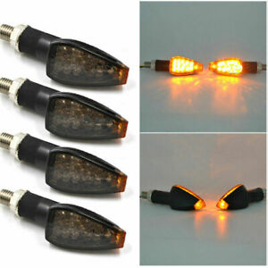 4X Motorcycle 15 LED Turn Signal Indicators Motorbike Flowing Water Light Amber