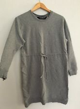 Norma Kamali Women's Gray Sweatshirt Dress Sz M Tunic Drawstring Waist Casual