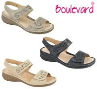 LADIES ADJUSTABLE Halter Back Summer Sandals Navy Beige Stone Size 3 4 5 6 7 8 9