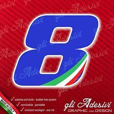 Adesivo Stickers NUMERO 8 moto auto cross gara Blu & Tricolore 5 cm