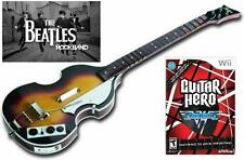 NEW Nintendo Wii Beatles Rock Band Wireless Hofner Bass & Guitar Hero Van Halen