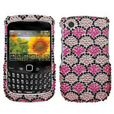 Pink Wavelet Crystal Bling Hard Case Cover BlackBerry Curve 8520 8530 9300 9330