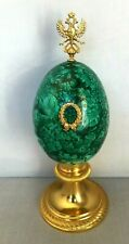 Russian Natural Malachite Egg With Gilded Bronze Stand