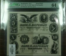 "1852 $5 & $10 Washington, DC ""Proof Pair"" Bank of the Republic Currency PMG 64"