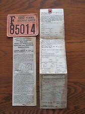 1952 Pennsylvania Hunting License
