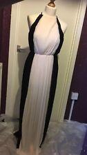 Miss Selfridge Black Cream High Neck Pleated Long Evening Maxi Dress UK 8