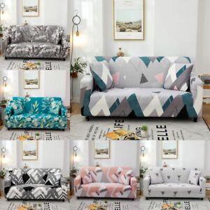 1 2 3 4 Seat Sofa Covers Elastic Geometric Pattern Slipcover Dust Protector-US