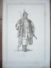 GRAVURE ORIGINALE COSTUME 19ème SIÈCLE SOLDAT CHINOIS