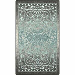 Traditional Vintage Rugs Non Skid Accent Area Carpet, 2'6 x 3'10, Grey/Blue