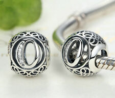 hot letters O European Silver CZ Charm Beads Fit sterling 925 Bracelet Chain #A1
