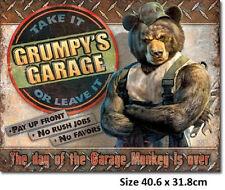 Grumpy's Garage Tin Sign 2011 Made in USA