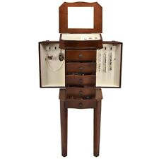 Home Armoire Storage Jewelry Cabinet with 5 Drawers & Mirror Free Standing US