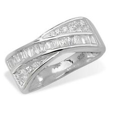 Sterling silver cubic zirconia crossover half eternity ring Size S