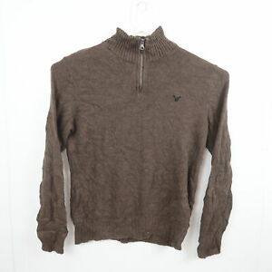 American Eagle Mens Knit Sweater Size M Brown 1/4 Zip Pullover Jumper Mock Neck