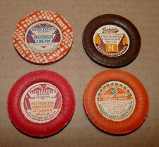 Hertzler's Milk Caps, 4 Different Vintage milk Caps ~ Elizabethtown, Pa