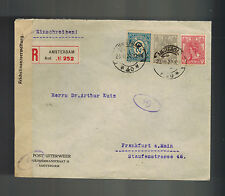 1922 Amsterdam Netherlands Cover to Germany Censored by Currency Control