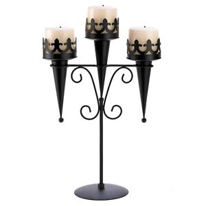 Triple Gothic Torch Style Candle Holder Stand Iron Decor