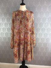 Mango Rusty Orange Kaftan Dress Floral Size 14-16 Sheer Hippy Boho Autumn