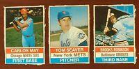 Vintage 1976 Hostess Hand Cut #34 May, #35 Tom Seaver Mets, #36 Brooks Robinson