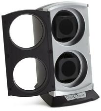"""Diplomat Double Watch Winder in Silver and Black with 3"""" Round Clear  Windows!"""
