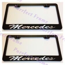 "2X ""Mercedes"" Stainless Steel Black License Plate Frame Rust Free W/ Bolt Caps"