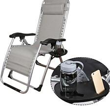 Lounge Chair Side Tray Cup Holder Folding For Outdoor Camp Picnic Beach Garden
