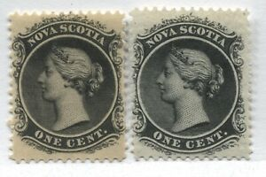 Nova Scotia QV 1860 1 cent white and yellow paper mint o.g. hinged