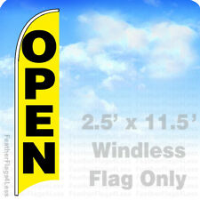 OPEN - WINDLESS Swooper Flag Feather Banner Sign 2.5x11.5' - yb