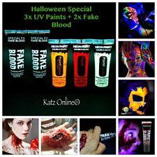 5 x Katz Halloween Face Paint Make Up Bundle  (3x UV Body Paint + 2x Fake Blood)
