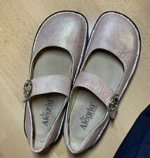 Alegria Mary Jane  Size EU 38/US 8-8.5 Rose Gold Embossed Pink Leather Shoes