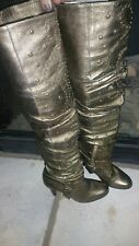 "Bebe ""Giselle"" antique golden bronze Leather studded high heel knee boots sz8"