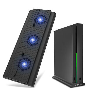 3 USB For Xbox One X Vertical Stand Cooling Fan Dual Controller Charging Station