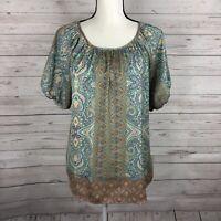 Sundance Womens Blouse Size Medium Blue Multicolor Short Sleeve Polyester