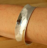 Solid 925 Sterling Silver Hammered Cuff Bangle Bracelet 19mm Wide UK Hallmarked