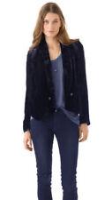 PINKO Giacca Donna 42 VELLUTO Costine BLU Women Velvet Smoking Blazer Jacket