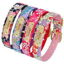 Personalized Dog Collar Floral PU Leather Adjustable Free Engraved Name Number