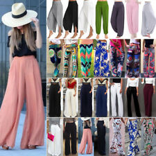 Plus Size Womens Palazzo Pants High Waist Wide Leg Culottes Long Trousers 6-20