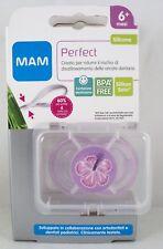 MAM Perfect Succhietto silicone mesi 6+ ciuccio lilla fiore + box sterile